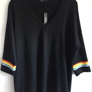 Joia top with rainbow stripe sleeve